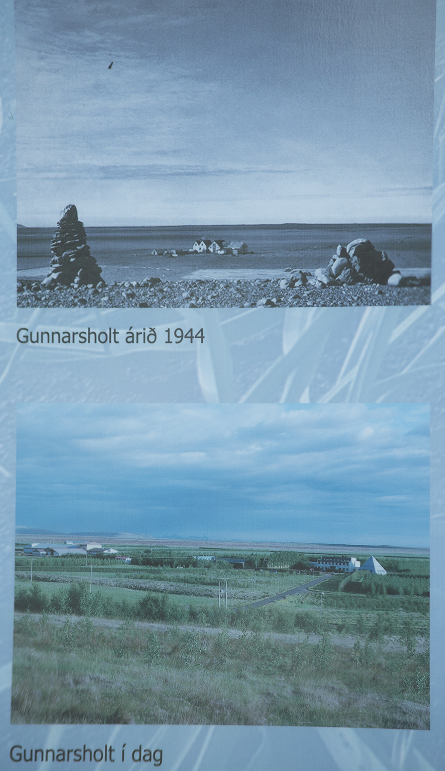 Gunnarsholt area in 1940s and today following restoration work