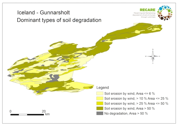 Iceland Gunnarsholt dominant types of soil degradationS