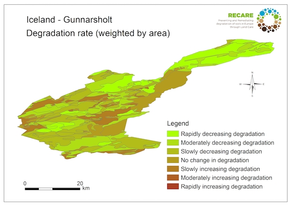 Iceland Gunnarsholt rate of degradationS