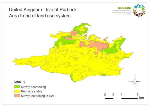 United Kingdom Isle of Purbeck area trend land use systems