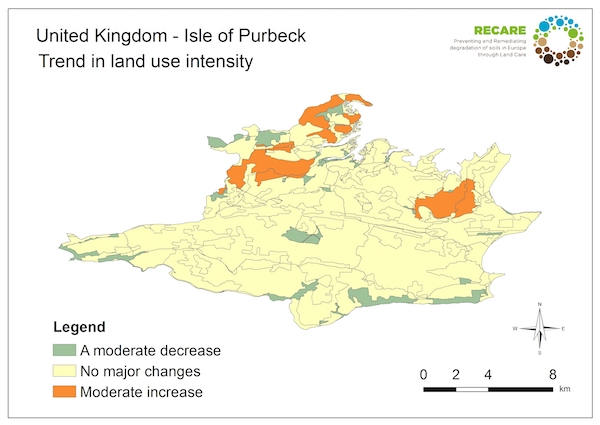 United Kingdom Isle of Purbeck trend in land use intensity