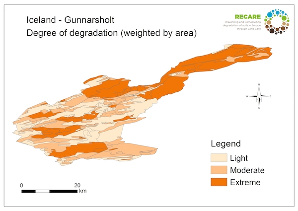 Iceland Gunnarsholt degree of degradationS
