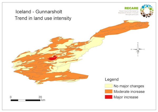 Iceland Gunnarsholt trend in land use intensityS