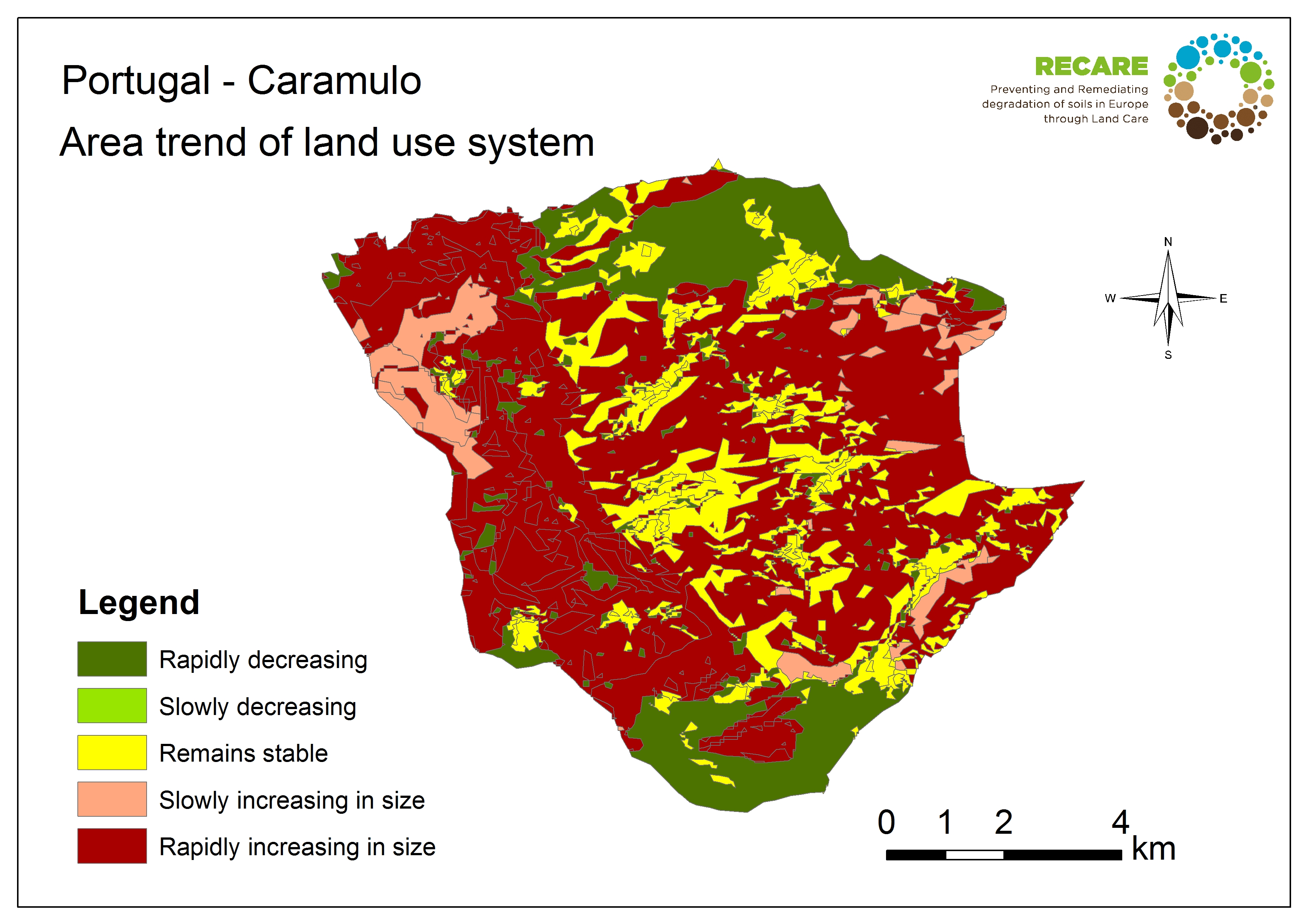 Portugal Caramulo area trend land use system
