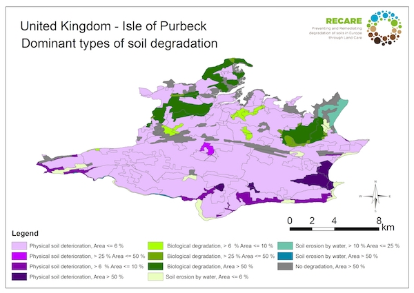 United Kingdom Isle of Purbeck dominant types of soil degradationS